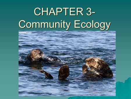 CHAPTER 3- Community Ecology. This PowerPoint presentation requires you and a partner to DISCUSS… I will pick on you to contribute to the discussion,