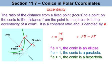 Section 11.7 – Conics in Polar Coordinates If e 1, the conic is a hyperbola. The ratio of the distance from a fixed point (focus) to a point on the conic.