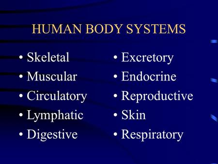 HUMAN BODY SYSTEMS Skeletal Muscular Circulatory Lymphatic Digestive Excretory Endocrine Reproductive Skin Respiratory.
