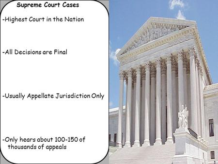 Supreme Court Cases -Highest Court in the Nation -All Decisions are Final -Usually Appellate Jurisdiction Only -Only hears about 100-150 of thousands of.