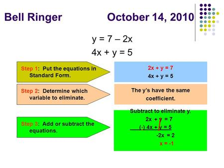 Bell Ringer October 14, 2010 y = 7 – 2x 4x + y = 5 Step 1: Put the equations in Standard Form. 2x + y = 7 4x + y = 5 Step 2: Determine which variable to.