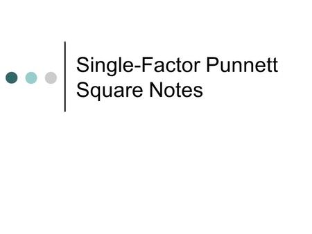 Single-Factor Punnett Square Notes. Punnett Square A diagram that can be used to predict the gene combinations that might result from a cross.