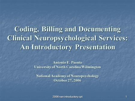 REIMBURSEMENT FOR NEUROPSYCHOLOGICAL SERVICES - ppt video
