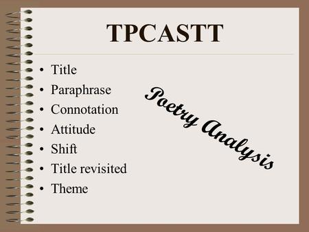 TPCASTT Poetry Analysis Title Paraphrase Connotation Attitude Shift