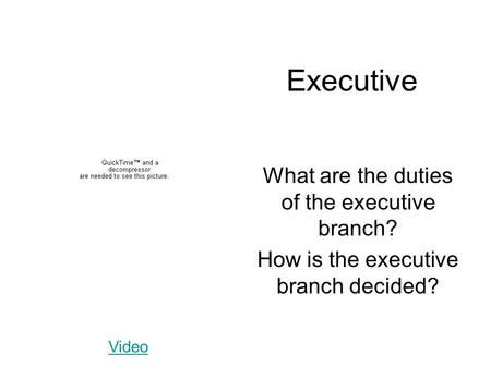 Executive What are the duties of the executive branch? How is the executive branch decided? Video.
