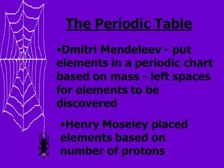 The Periodic Table Dmitri Mendeleev - put elements in a periodic chart based on mass - left spaces for elements to be discovered Henry Moseley placed elements.