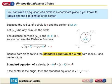 Square both sides to find the standard equation of a circle with radius r and center (h, k). Finding Equations of Circles You can write an equation of.