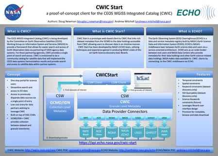 What is CWIC? https://api.echo.nasa.gov/cwic-start Authors: Doug Newman Andrew Mitchell