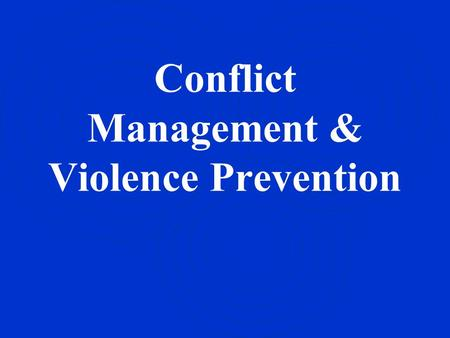 Conflict <strong>Management</strong> & Violence Prevention. Bell Ringer #1 Conflict Resolution *Textbook: Read Pages / SSR -Conflicts, pg 49-50 -Conflict-Resolution Skills,