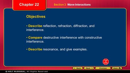 Chapter 22 Objectives Describe reflection, refraction, diffraction, and interference. Compare destructive interference with constructive interference.