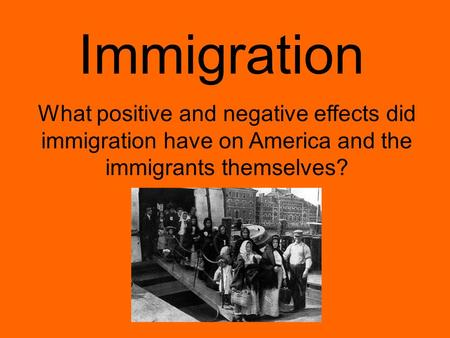 Immigration What positive and negative effects did immigration have on America and the immigrants themselves?