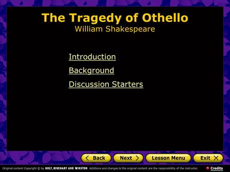 The Tragedy of Othello William Shakespeare