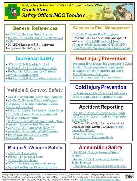 Michigan Army National Guard Safety And Occupational Health Office Quick Start Safety Officer Nco Toolbox 1 24 Jan 07 This Guide Provides A Listing Ppt Download