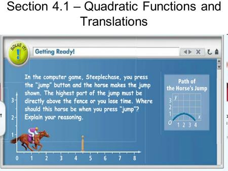 Section 4.1 – Quadratic Functions and Translations
