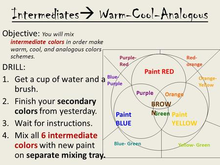 Intermediates  Warm-Cool-Analogous Objective: You will mix intermediate colors in order make warm, cool, and analogous colors schemes. DRILL: 1.Get a.
