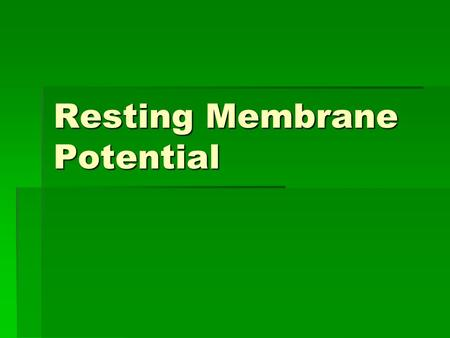 Resting Membrane Potential. Membrane Potentials  Electrical signals are the basis for processing information and neuronal response  The impulses are.