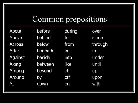 Common prepositions Aboutbeforeduringover Abovebehindforsince Acrossbelowfromthrough Afterbeneathinto Againstbesideintounder Alongbetweenlikeuntil Amongbeyondofup.