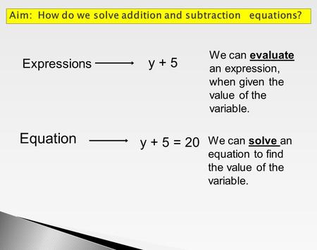 Equation y + 5 y + 5 = 20 Expressions