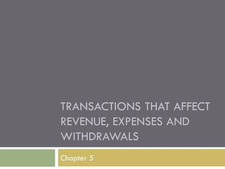 TRANSACTIONS THAT AFFECT REVENUE, EXPENSES AND WITHDRAWALS Chapter 5.
