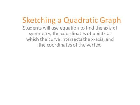 Sketching a Quadratic Graph Students will use equation to find the axis of symmetry, the coordinates of points at which the curve intersects the x-axis,