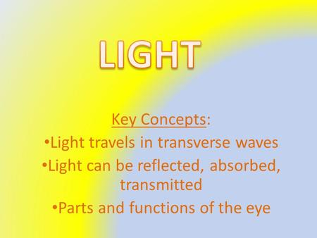 Key Concepts: Light travels in transverse waves Light can be reflected, absorbed, transmitted Parts and functions of the eye.