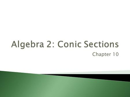 Chapter 10.  Write an equation given the focus and directrix.  Use the distance formula.
