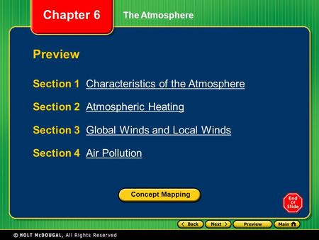 Preview Section 1 Characteristics of the Atmosphere