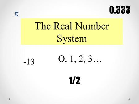 The Real Number System -13 O, 1, 2, 3… 1/2 0.333 π.