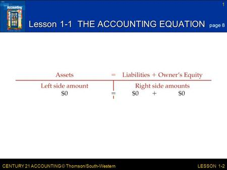 CENTURY 21 ACCOUNTING © Thomson/South-Western 1 LESSON 1-2 Lesson 1-1 THE ACCOUNTING EQUATION page 8.