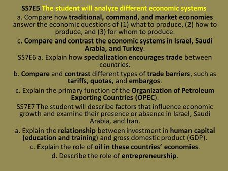 SS7E5 The student will analyze different economic systems.