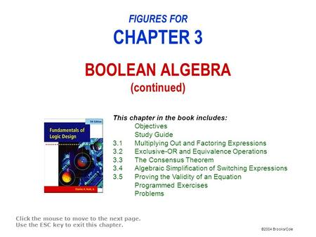 ©2004 Brooks/Cole FIGURES FOR CHAPTER 3 BOOLEAN ALGEBRA (continued) Click the mouse to move to the next page. Use the ESC key to exit this chapter. This.