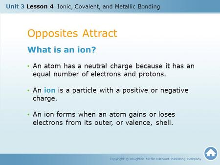 Opposites Attract What is an ion?
