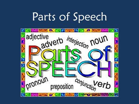 Parts of Speech. There are (8) parts of speech 1)Nouns 2)Verbs 3)Adjectives 4)Adverbs 5)Pronouns 6)Prepositions 7)Conjunctions 8)Interjections.