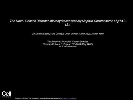 The Novel Genetic Disorder Microhydranencephaly Maps to Chromosome 16p