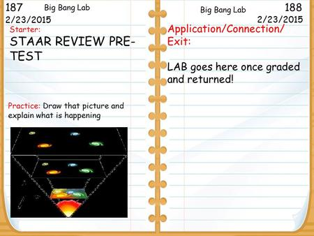 Starter: STAAR REVIEW PRE- TEST 2/23/2015 187188 Big Bang Lab 2/23/2015 Application/Connection/ Exit: LAB goes here once graded and returned! Big Bang.