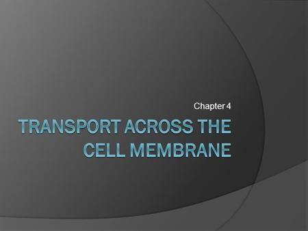 Chapter 4. Transport Across the Cell Membrane  Substances need to move into and out of the cell in order to maintain homeostasis  They can do this by.