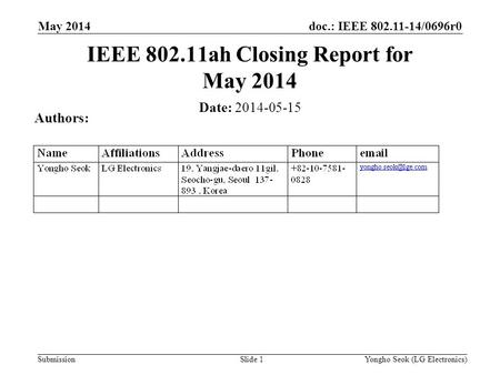Doc.: IEEE 802.11-14/0696r0 Submission May 2014 Slide 1 IEEE 802.11ah Closing Report for May 2014 Date: 2014-05-15 Authors: Yongho Seok (LG Electronics)