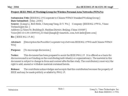 May 2006 doc:IEEE802.15-06-0231-00-wng0 Slide 1 Submission Liang Li, Vinno Technologies Inc. Bob Heile IEEE802.15.WG. Project: IEEE P802.15 Working Group.