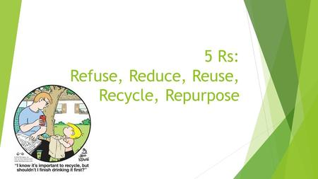 5 Rs: Refuse, Reduce, Reuse, Recycle, Repurpose