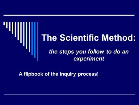 The Scientific Method: A flipbook of the inquiry process! the steps you follow to do an experiment.