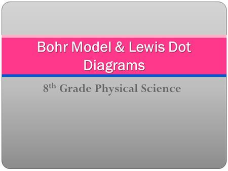 8 th Grade Physical Science Bohr Model & Lewis Dot Diagrams.