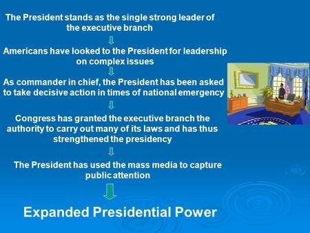 The President stands as the single strong leader of the executive branch Americans have looked to the President for leadership on complex issues As commander.