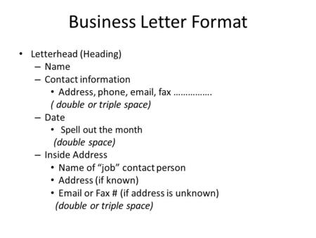 business letter format letterhead heading name contact information address phone