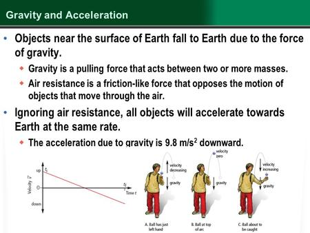 Gravity and Acceleration Objects near the surface of Earth fall to Earth due to the force of gravity.  Gravity is a pulling force that acts between two.