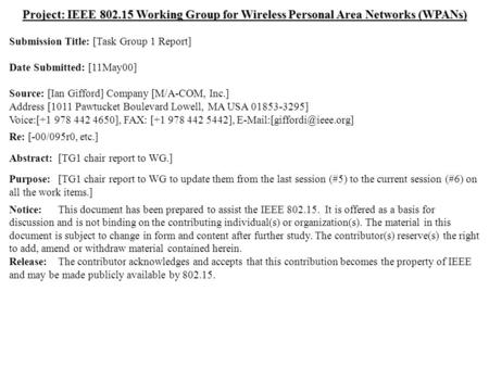 Doc.: IEEE 802.15-00/119r0 Submission May 2000 Ian Gifford, M/A-COM, Inc.Slide 1 Project: IEEE 802.15 Working Group for Wireless Personal Area Networks.