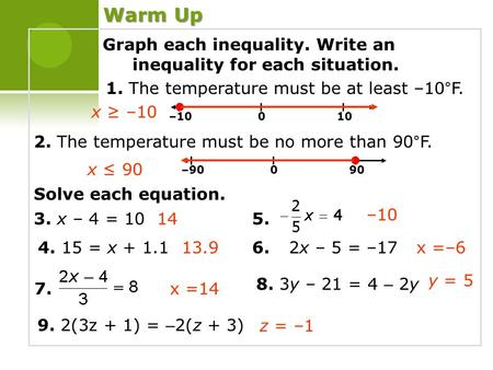 Graph each inequality. Write an inequality for each situation. 1. The temperature must be at least –10°F. 2. The temperature must be no more than 90°F.