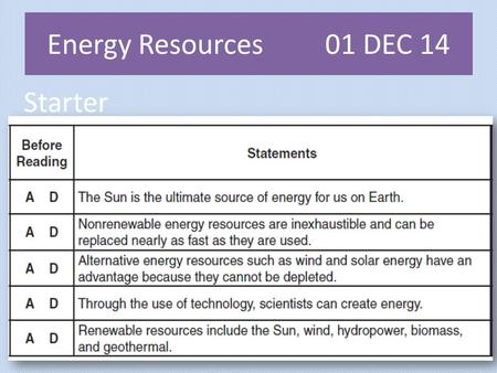 Starter Energy Resources 01 DEC 14. Starter: 47 01 DEC 14 Energy Resources48 Practice: Paste in and fill in the blanks.