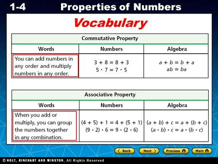 Holt CA Course 1 1-4Properties of Numbers Vocabulary.