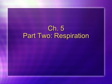 Ch. 5 Part Two: Respiration. Cellular Respiration Respiration Transfers the energy in organic compounds (glucose) to make ATP C 6 H 12 O 6 + 6O 2 -----