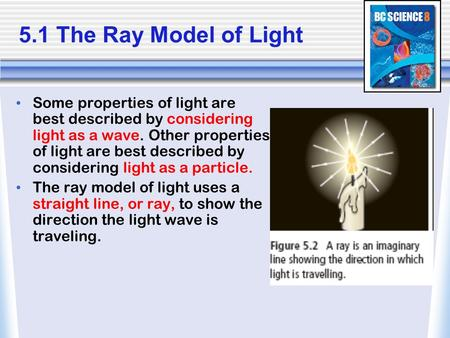 5.1 The Ray Model of Light Some properties of light are best described by considering light as a wave. Other properties of light are best described by.